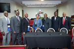 Group picture at St. Lawrence of Johnny L. Ford, Edward R. Jones, Alberta McCrory, Darryl Johnson, Eddie Cole