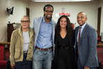 Group picture at St. Lawrence of Fon L.Gordon, Dr. Ibram X. Kendi, Dr. Elizabeth Hinton, and Dr. Khalil Gibran Muhammad