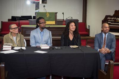 Opening plenary session at St. Lawrence of Fon L. Gordon, Dr. Ibram X. Kendi, Dr. Elizabeth Hinton, and Dr. Khalil Gibran Muhammad