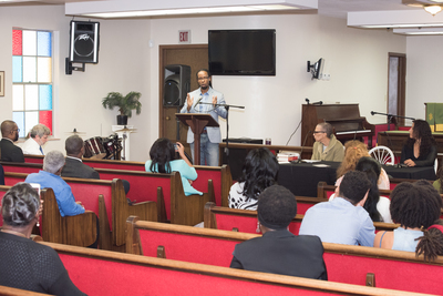 Opening plenary session at St. Lawrence of Dr. Ibram X. Kendi, Fon L. Gordon, and Dr. Elizabeth Hinton