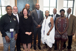 Group picture at Rollins of Anthony B. Major, Ben Brotemarkle, Dr. Julian Chambliss, Charles M. Blow, Dr. Eleanor W. Traylor, Edward R. Jones, Harietta S. Finley, and Trent Tomengo