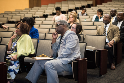 """Opening plenary session at Rollins of Winfred """"Chad"""" McKendrick, Amy Parziale, and  Sharon Lusk"""